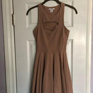 Nude High Neck Skater Dress